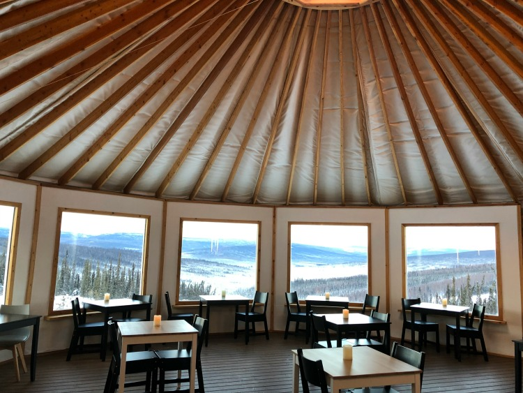 Dining in the Yurt at Borealis Basecamp on EveryRoadAStory