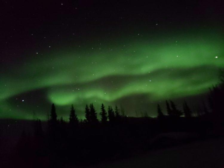Northern lights, aurora borealis, Fairbanks, Alaska, cellphon photography